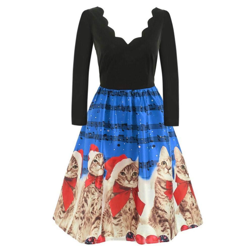 Skang Kleider Vintage Ballkleid Cocktailkleid Frauen Lange Hülsen Weihnachtskatzen musikalische Anmerkungen drucken Weinlese Aufflackern Kleid Kordelzug Weihnachts Lässige Minikleid