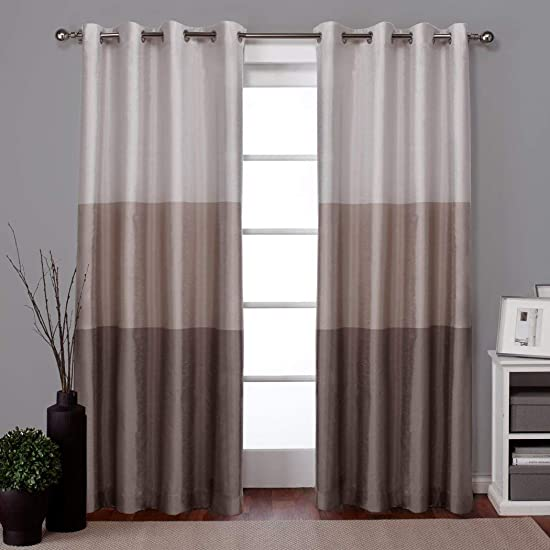 DH 2 Piece Dove Grey Light Gray White Gradient Color Block Pattern Window Curtain Set 84 Inch Pair Panels, Three Toned Colour Shades Bold Stripes Classic Contemporary Grommet Faux Silk Polyester