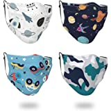 4 Pcs Big Kids Face Bandana with Cute Pattern Reusable Cloth Face Bandanas Covering Set for Teens Boys Girls Age 7-16