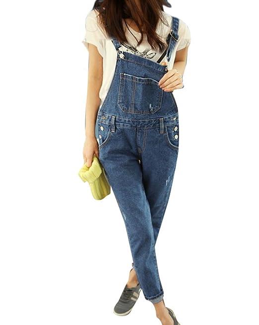 Qitun Mujer Petos Vaqueros Overalls Denim Jeans Vaqueros ...