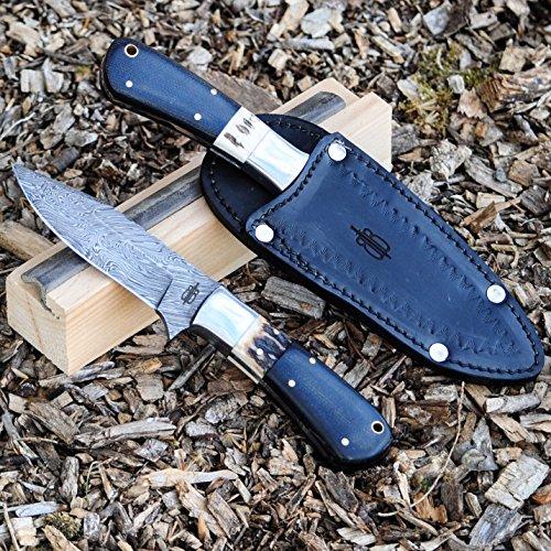 Buck n Bear Custom Black Handmade Damascus Fixed Blade Hunting Knife (Stag/Micarta Handle)
