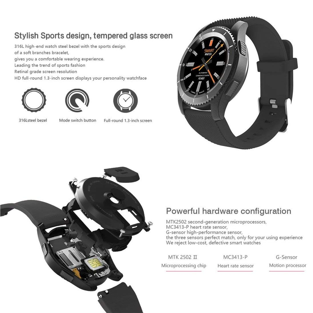 Amazon.com: Baynne No.1 G8 Smartwatch Bluetooth 4.0 MTK2502 ...