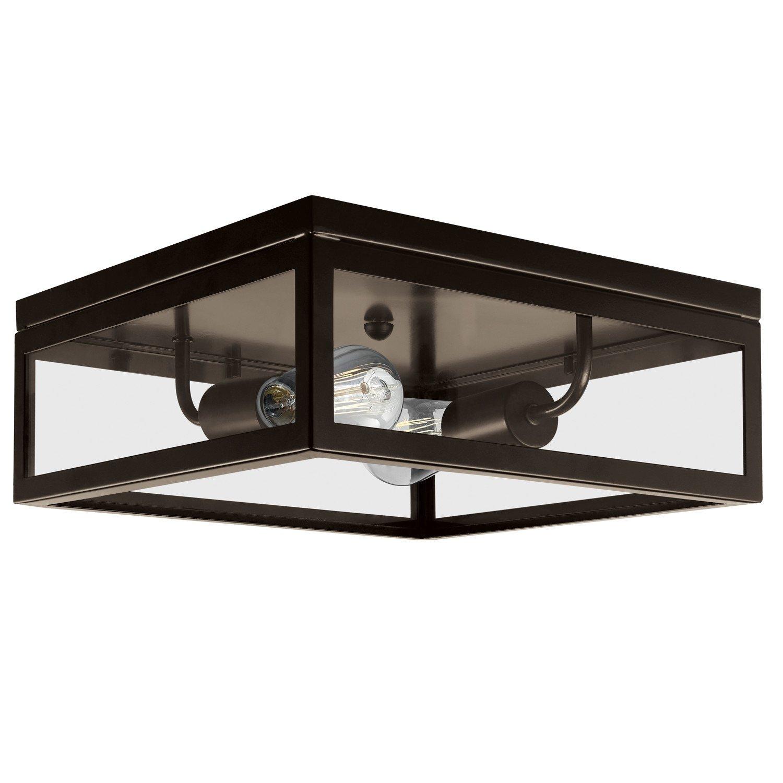Globe Electric 65748 Memphis 2 Flush Mount Ceiling Light, Dark Bronze Finish, Clear Glass Panes