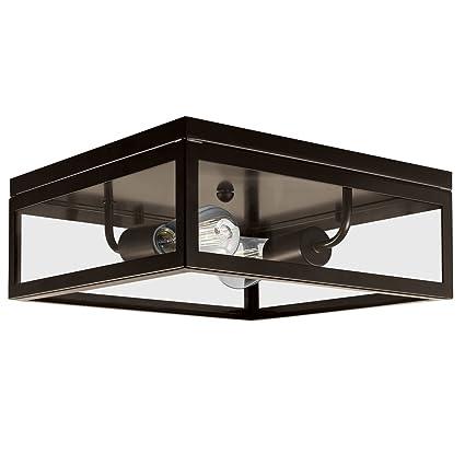 Globe electric memphis 2 light flush mount ceiling light dark globe electric memphis 2 light flush mount ceiling light dark bronze finish clear aloadofball Images