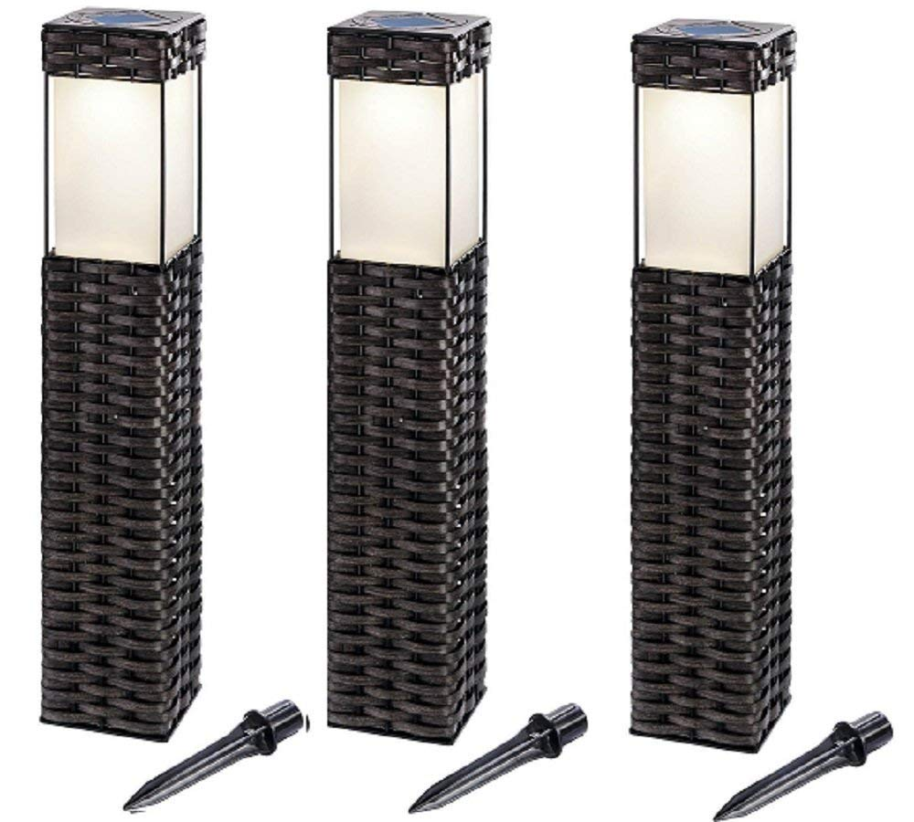 BUVTEC '3er Set' LED Solar Standleuchtenset Rattan 3500 K 160