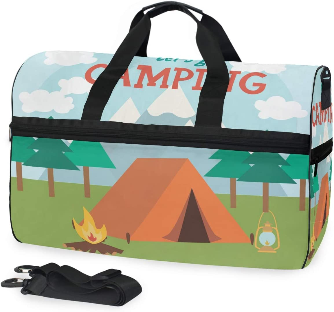 TFONE Summer Camping Pattern Duffel Bag Sports Gym Weekend Bags with Shoe Compartmen