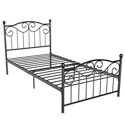 Amazon.com: Yaheetech Single Metal Bed Frame Twin Size Vintage ...