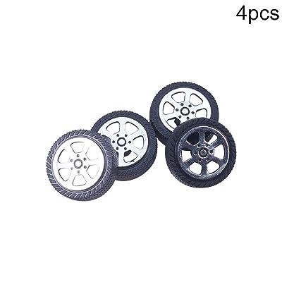 MroMax Plastic Roll 2mm Diameter Shaft Car Truck Model Toys Wheel (26mmx9mm ) 4pcs Black: Toys & Games