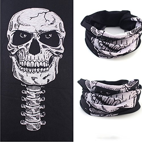 [Multifunctional Magic Seamless Scarf Amazing Mask Halloween Costume Skull Scarf] (Scarf Halloween Costumes)