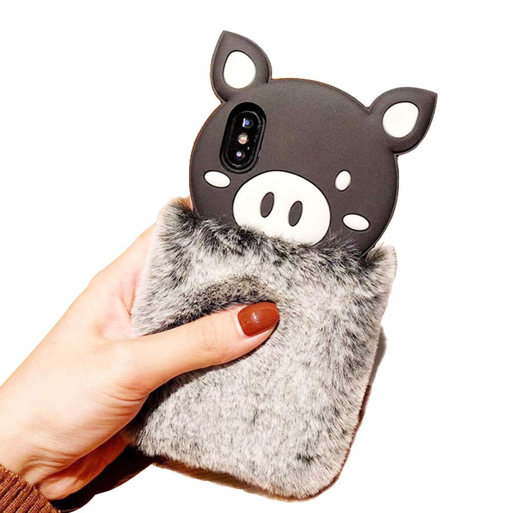 BONTOUJOUR iPhone 7 Plus/iPhone 8 Plus Case, Super Cute Soft Fur Style Piggy Shape Cover Case, Soft TPU Pig Case with Fur Body - Gray Fur Pig