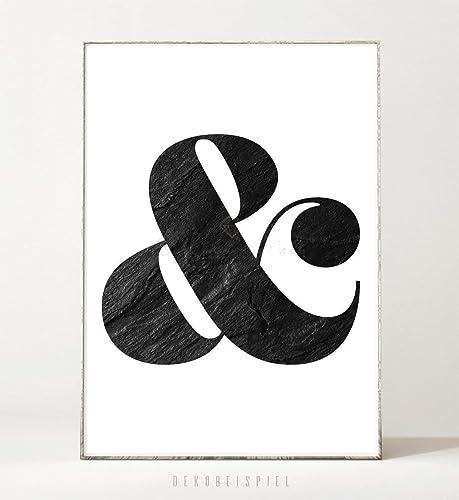 Din A4 Kunstdruck Poster Graphite Ampersand Ungerahmt Typografie