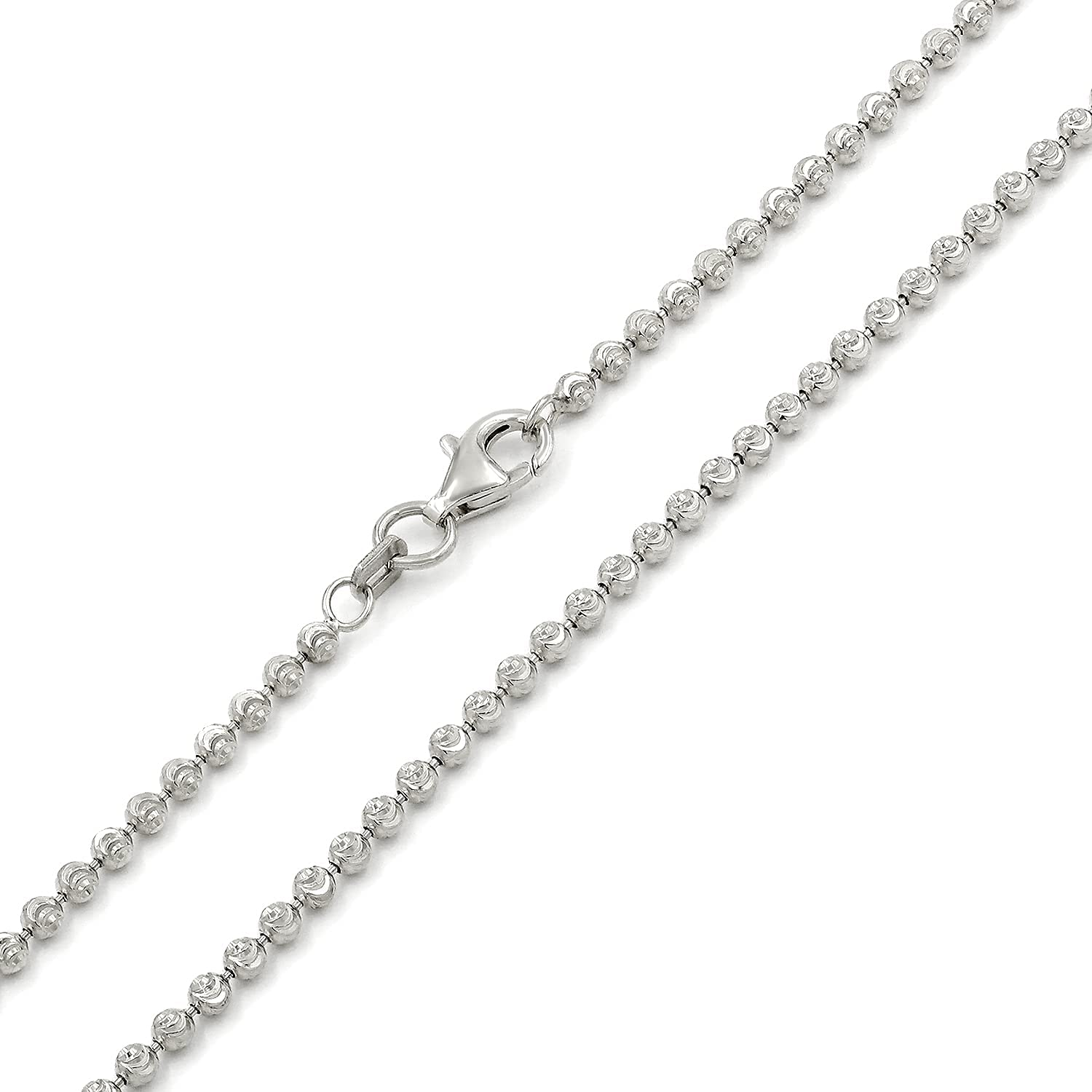 925 Limited time for free shipping Italian Sterling Silver 2mm - Moon shop Ball Cut Bead 6mm Chain