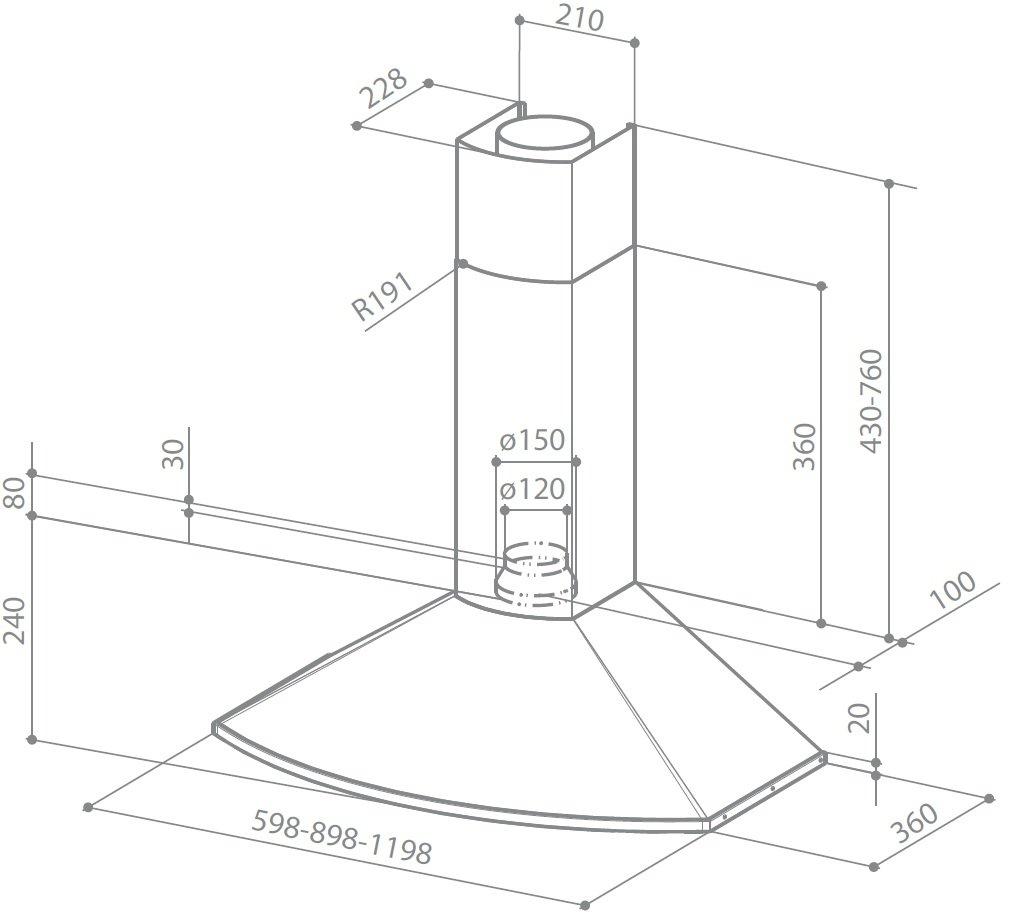/Hauben Tender x A120/montiert Wand Edelstahl 420/m/³//h/ Faber S.P.A 420/m/³//h, 49/dB, 54/dB, 61/dB, montiert Wand, Edelstahl