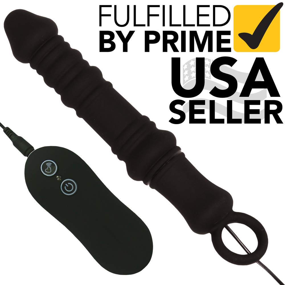 Vibrating Anal Stimulator - Butt Plug with 10 Functions of Vibrations - Textured Vibe