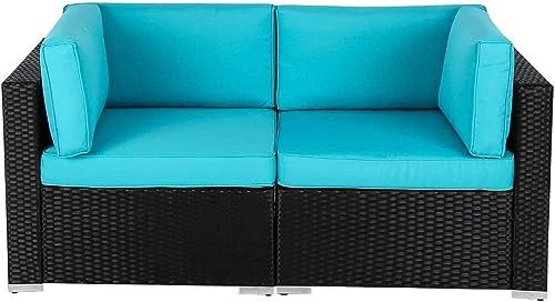 Wicker Loveseats Patio Sectional Corner Sofa Rattan Outdoor Thick Sofa Set