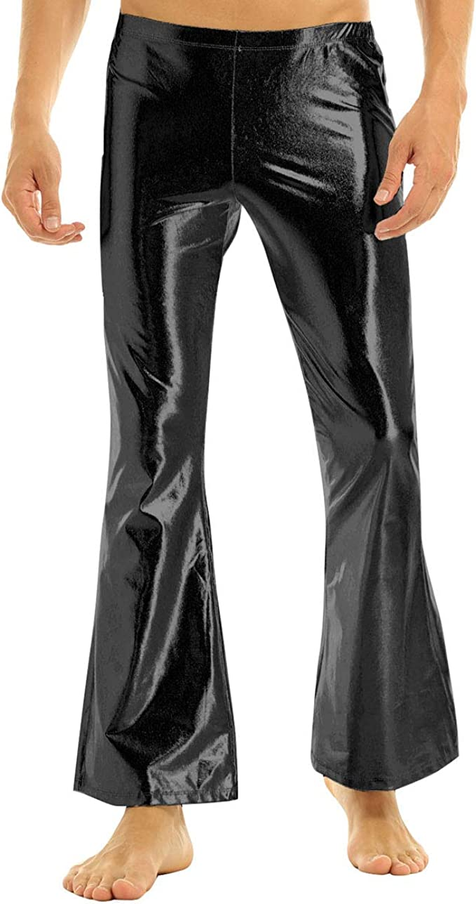Disco Pants Mens Bell Bottoms Nightclub 70s Sequins Dance Long Trousers Costume