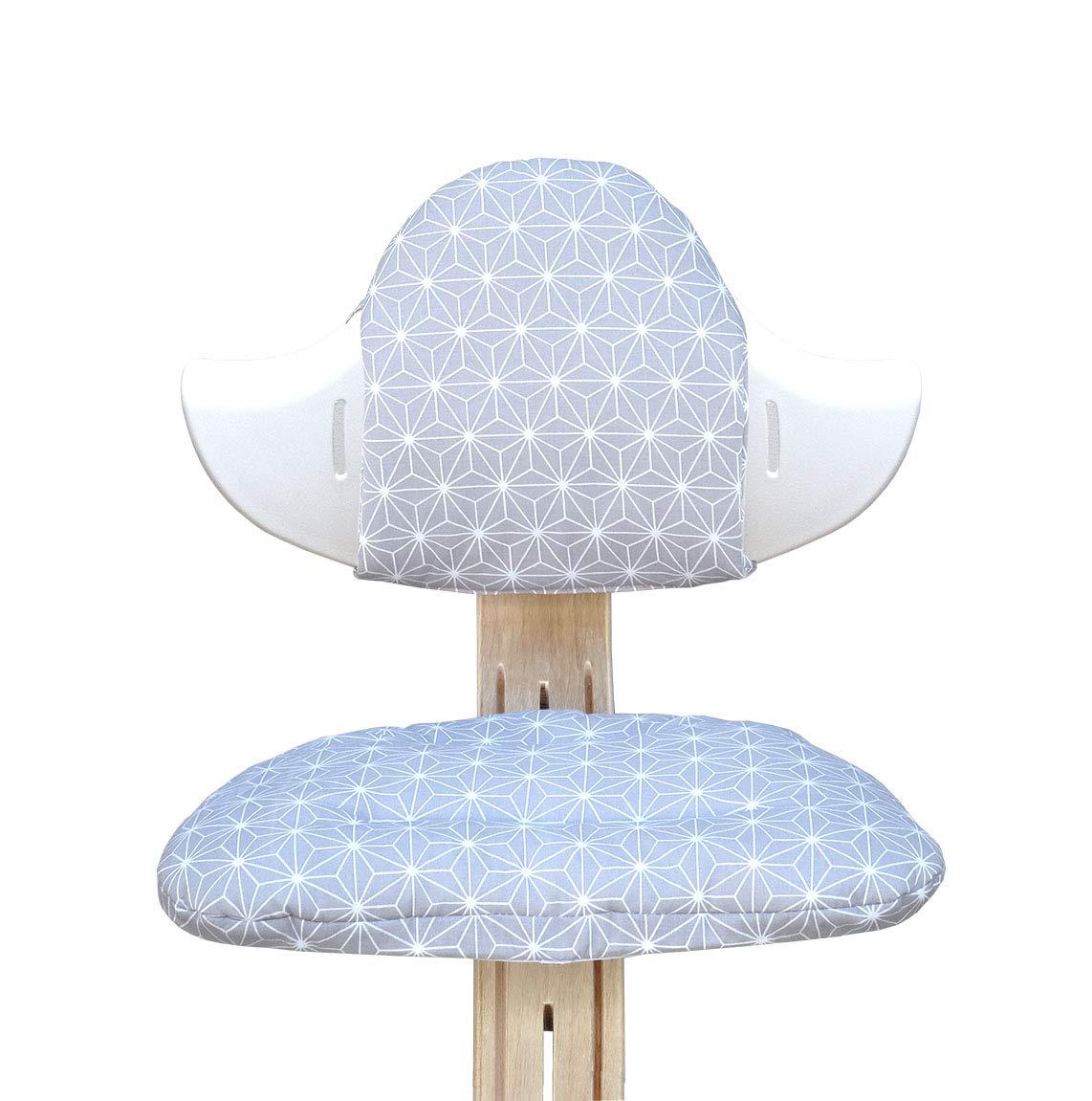 Sitzkissen Set f/ür Nomi Hochstuhl von Evomove Blausberg Baby Grau Stern