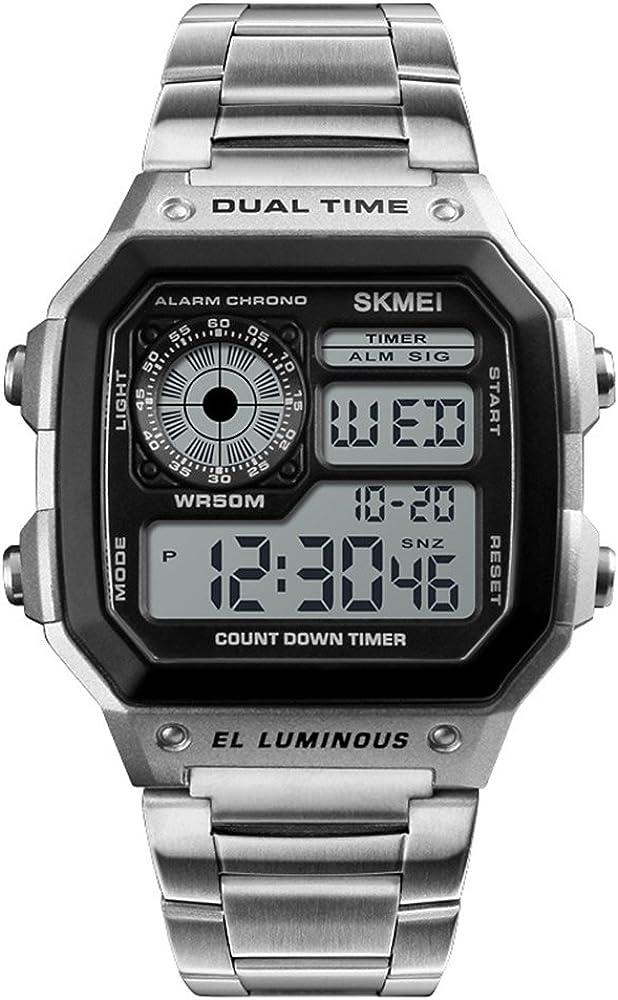 Relojes Pulsera Cronómetro Calendario Dual-Time Alarma Digital Relojes Hombre Acero Inoxidable Casual, Plateado