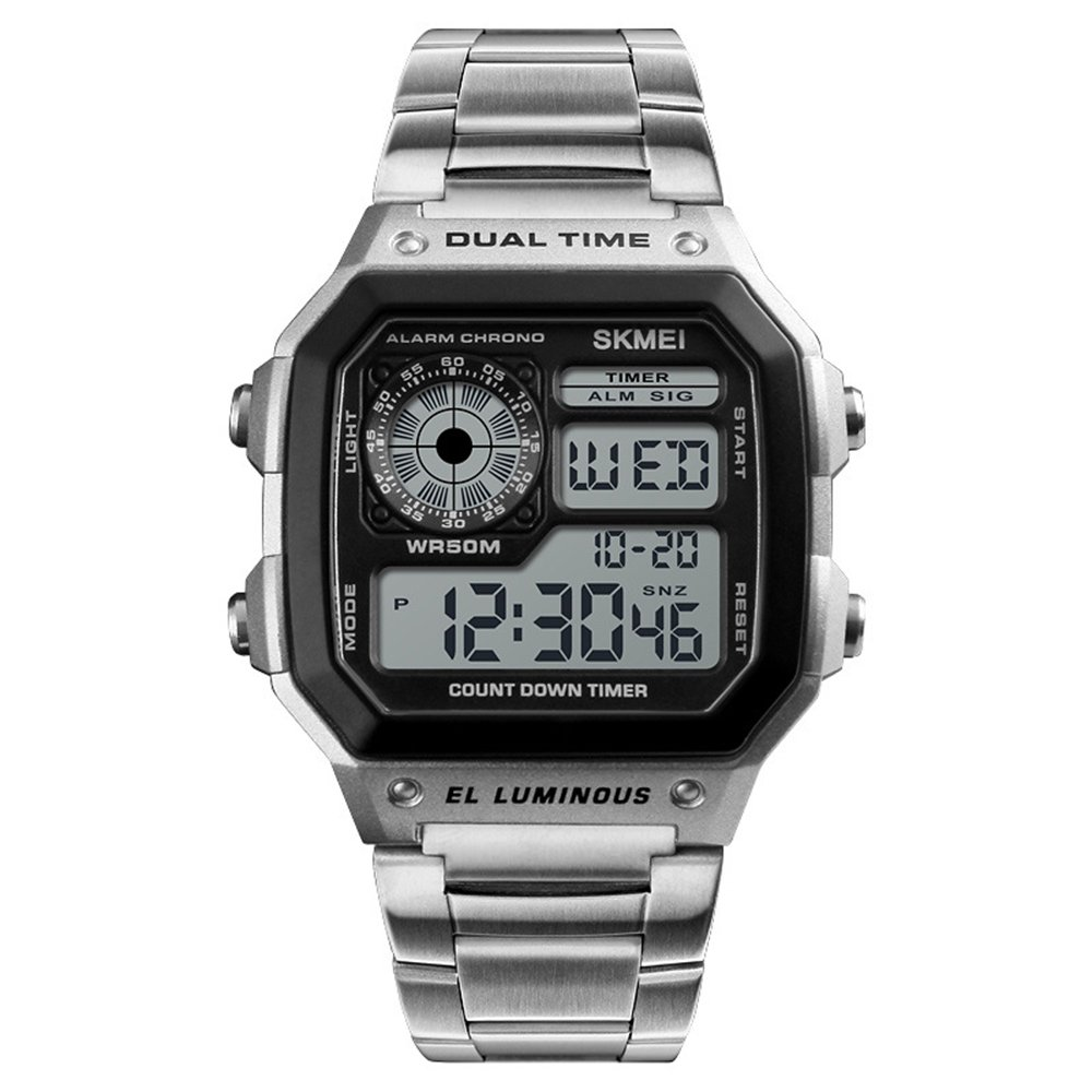 Relojes Pulsera Cronómetro Calendario Dual-Time Alarma Digital Relojes Hombre Acero Inoxidable Casual