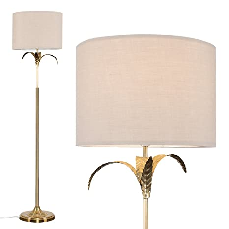 Modern Gold Effect Palm Tree Design Floor Lamp With A Beige