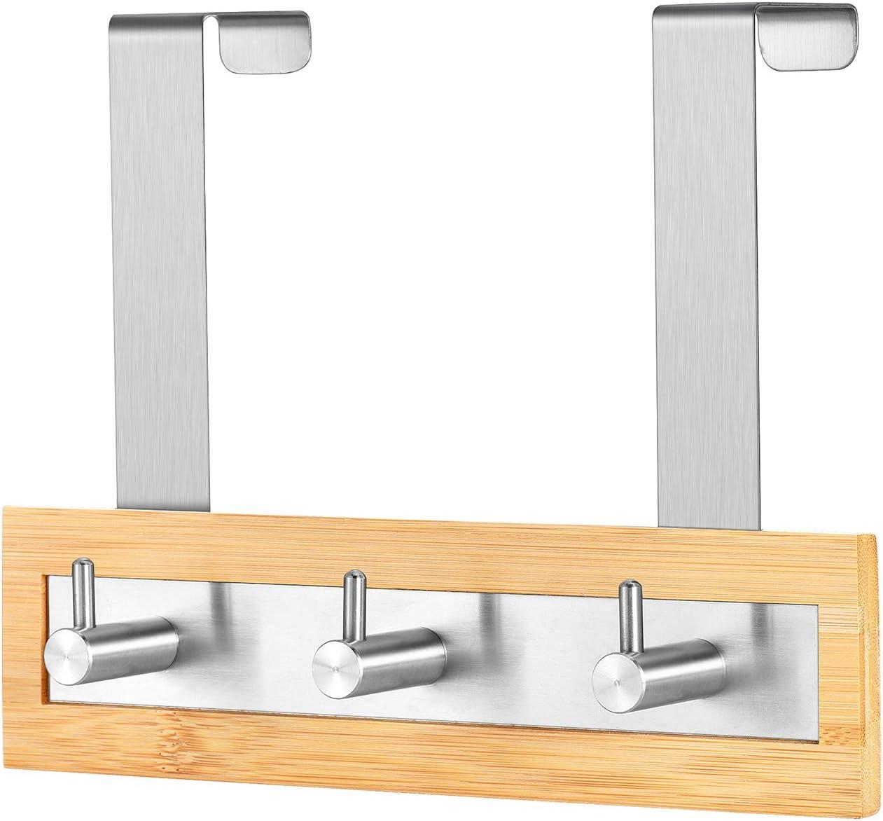 ToiletTree Bamboo Wood and Stainless Steel Door Hanging Towel Rack