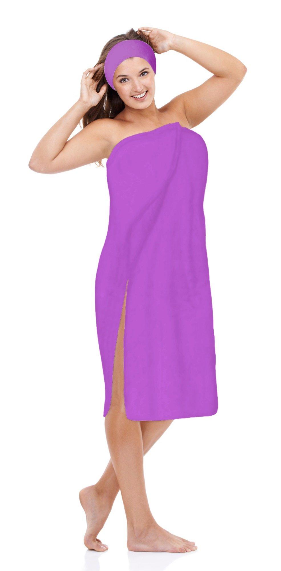 Luxury Spa Wrap Womens Plus Size Snap Bath Towel Wrap (4XL Plus Size 3X 4X, Purple)