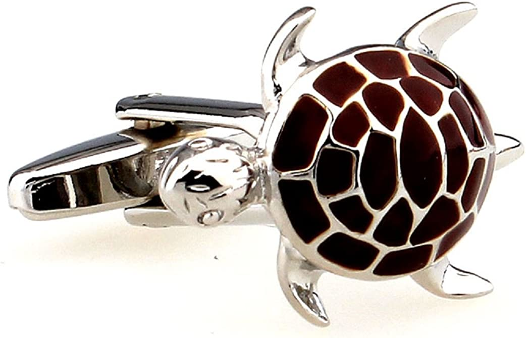 MRCUFF Turtle Tortoise Pair Cufflinks in a Presentation Gift Box & Polishing Cloth