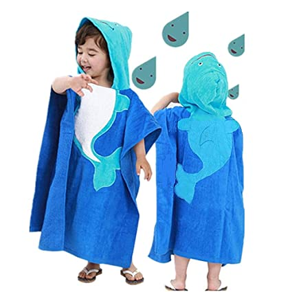 698601340f6ed InsHere Hooded Poncho Towel for Kids, Organic Cotton Toddler Robes Wrap,  Large Size 25""