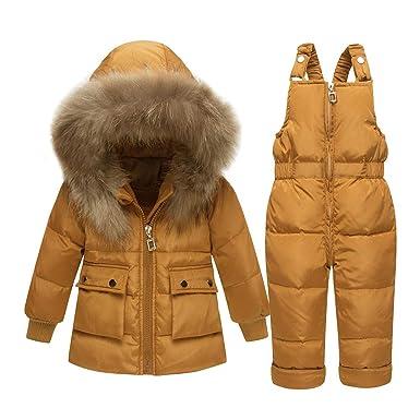 Baby Girl Boy 2 Piezas Traje de Nieve niño Invierno cálido Abrigo de Piel con Capucha Puffer Abajo Abrigo + Monos Conjunto Traje: Amazon.es: Ropa y ...
