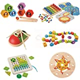 Amazon Basics Fine Motor Case Pack, Lacing Beads, Bee Hive, Lacing Board, Tie-Up Shoe, Lacing Ring, Creative Peg Board, 3 Yea