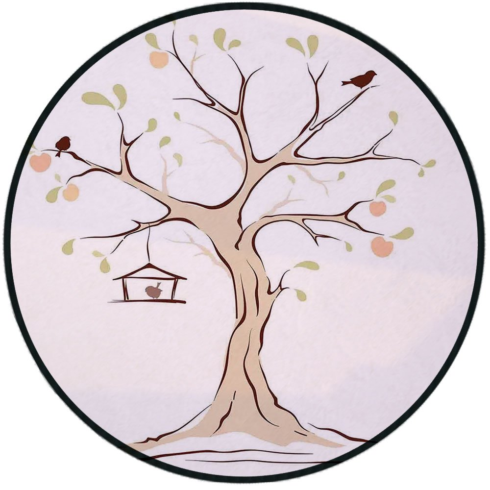 Printing Round Rug,Tree of Life,Illustration of Mature Apple Tree with Fying Birds and the Nest Fruit Family Decorative Mat Non-Slip Soft Entrance Mat Door Floor Rug Area Rug For Chair Living Room,Mul