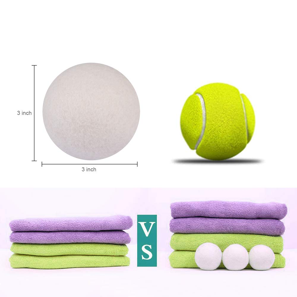 Wool Dryer Balls, XL 6 Pack 3\'\', 100% Organic New Zealand Natural Fabric Softener, Hypoallergenic Baby Safe, Reduce Wrinkles, Static Cling, Hypoallergenic, Chemical Free