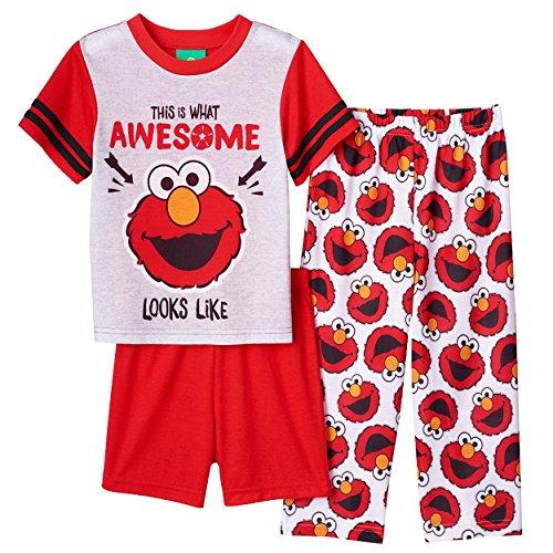 Sesame Street Toddler Boys' Elmo 3-Piece Pajama Set, Cherry Red, 2T