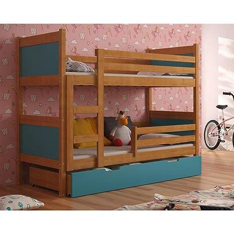 JUSTyou Leon Cama Juvenil Infantil Litera con cajones (LxBxH): 190x85x150 cm Aliso Azul