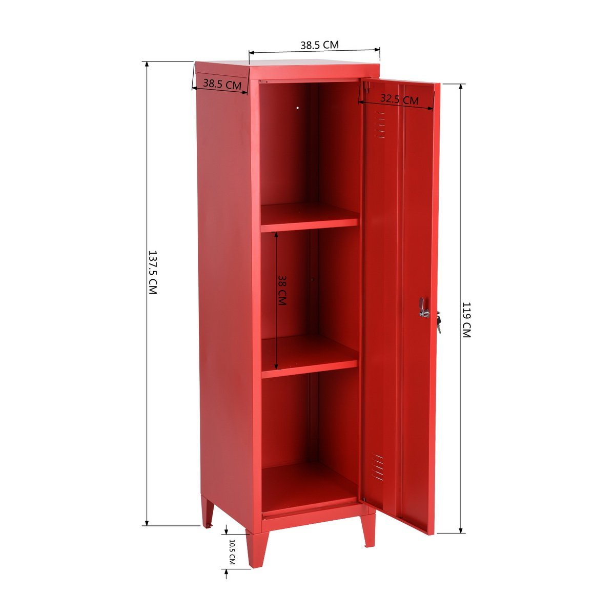 HouseinBox Office File Storage Metal Cabinet 3 Door Cupboard Locker Organizer Console Stand 3-in-1 (RED-Standing Locker) by HouseinBox (Image #8)