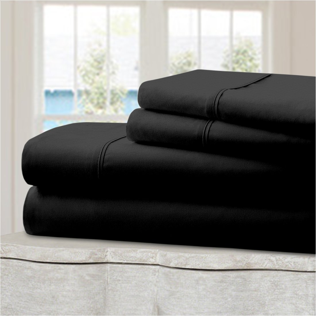 Mellanni 100% Cotton Bed Sheet Set King Black