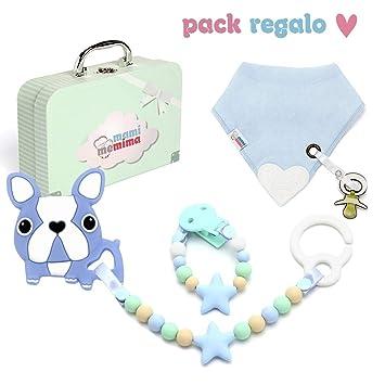 Canastila Bebé | Regalo recién nacido | Set Regalo | Chupetero Mordedor + Bandana Mordedor + Mordedor de Carrito Con Bulldog (Azul)