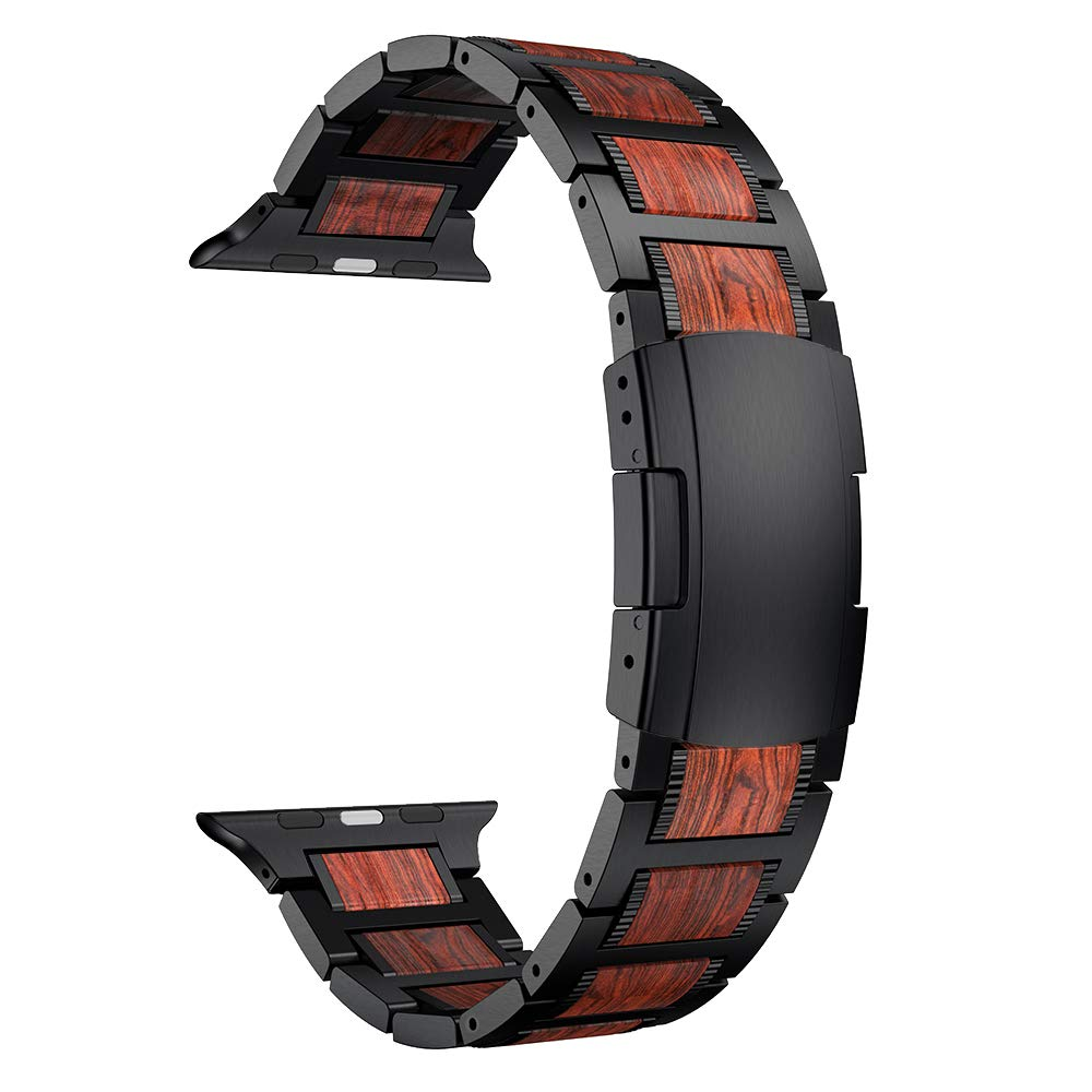 LDFAS Compatible for Apple Watch Band 44mm/42mm, Natural Wood Red Sandalwood Black Stainless Steel Metal Strap Compatible for Apple Watch Series 4/3/2/1 by LDFAS