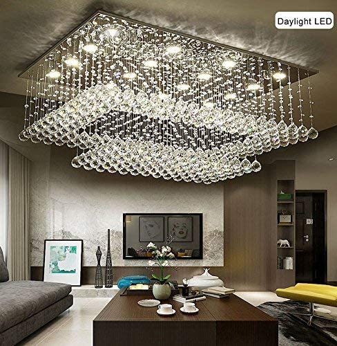 SILJOY Modern Contemporary Crystal Rectangular Chandelier Flush Mount Ceiling Lighting Fixture for Living Room, Height 14 x Length 36 x Width 24