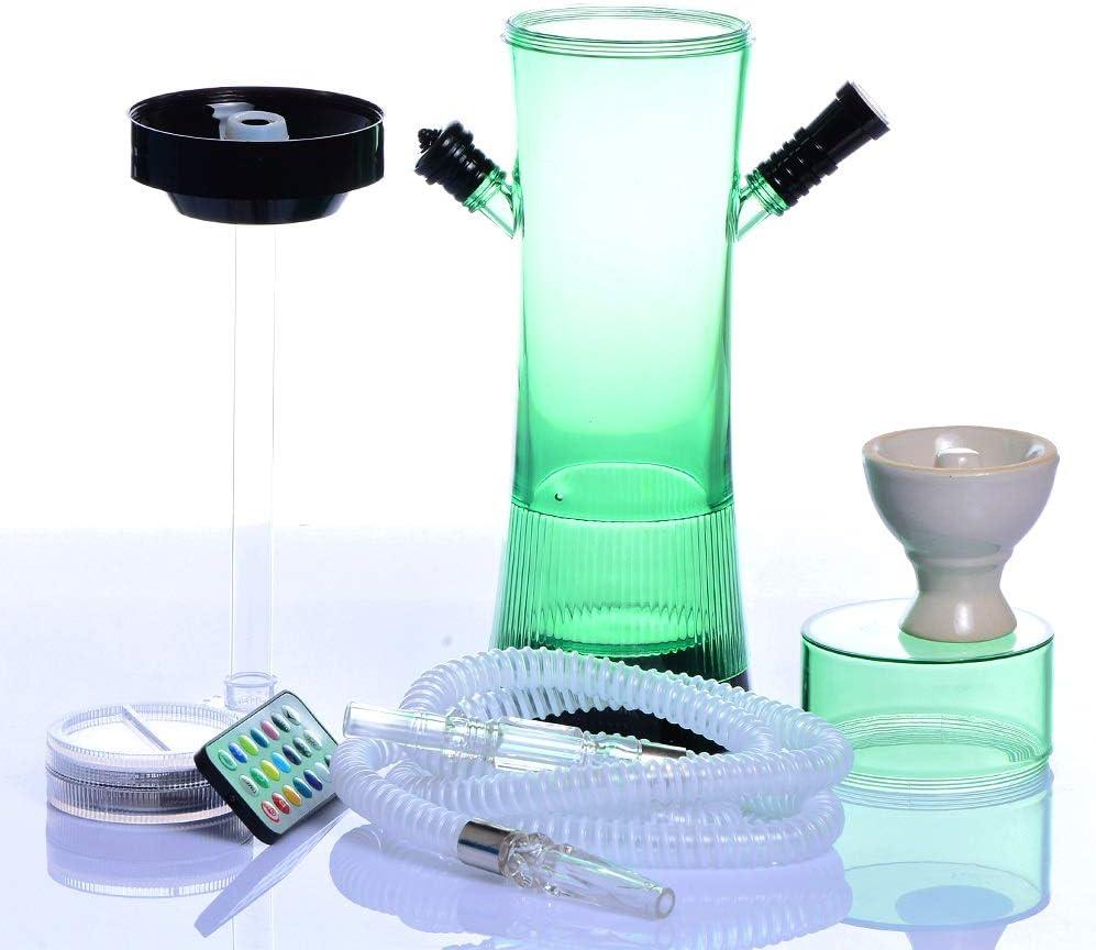 MTSBW Juego de cachimba, Botella de cachimba acrílica Juego de Taza de cachimba, tazón de cerámica, Manguera de Tubo de Agua con luz LED, fácil de Limpiar, Utilizada para filtrar sustancias nocivas