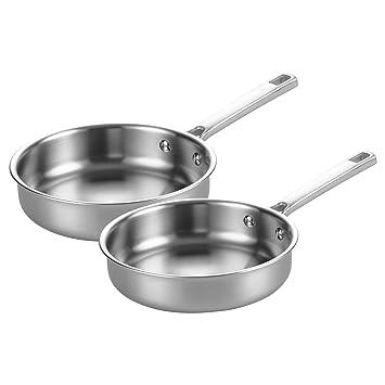 BONAZZA - Juego de sartenes de cocina de acero inoxidable de triple capa, apto para inducción y lavavajillas, 20 cm y 25 cm: Amazon.es: Hogar