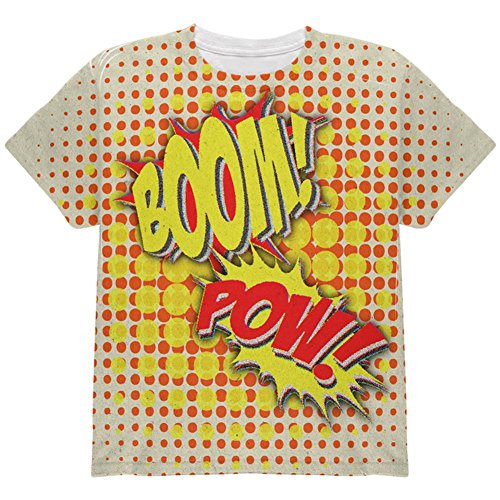 [Halloween Boom Pow Vintage Comic Book Costume All Over Youth T Shirt Multi YXL] (Vintage Comic Book Girl Costume)