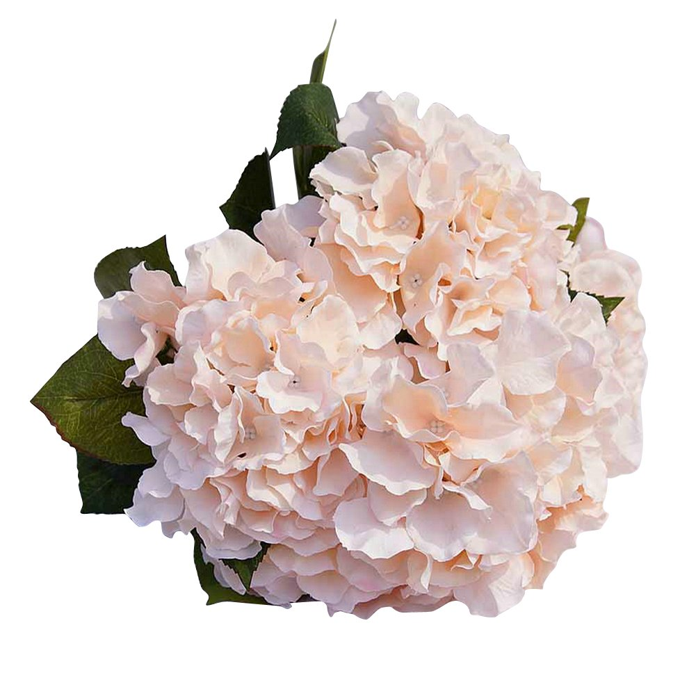 AMTION Artificial Silk Fake 5 Heads Flower Bunch Bouquet Home Hotel Wedding Party Garden Floral Decor Hydrangea Champagne