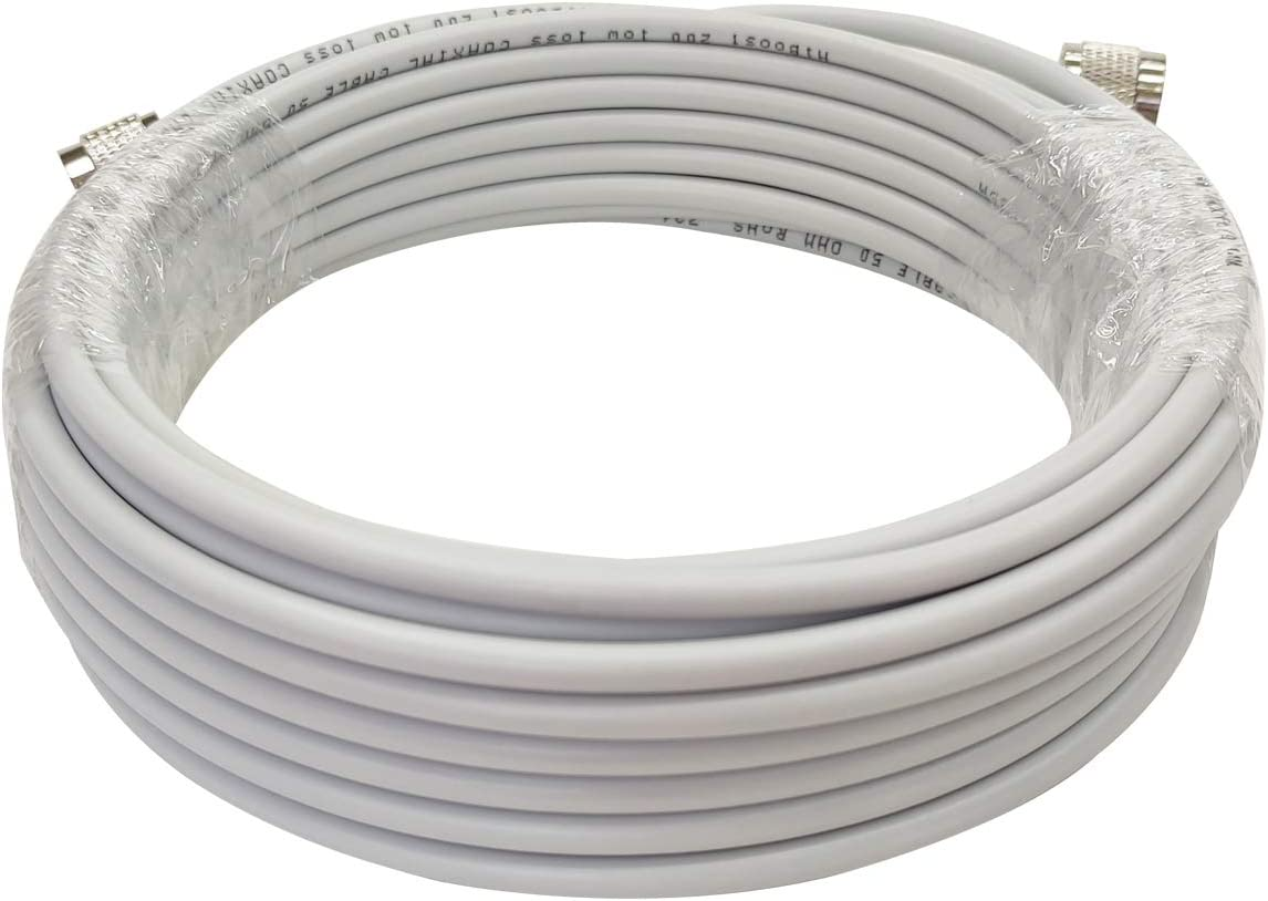 HiBoost 30ft Ultra Low Loss Coaxial Cable with N-Male to N-Male Connector for Cell Phone Signal Booster, Splitters, Outdoor Antenna and Indoor Antenna