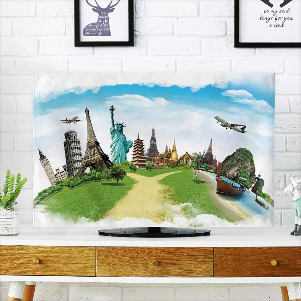 PRUNUS tv Protective Cover Travel The World Monument Concept tv Protective Cover W19 x H30 INCH/TV 32''