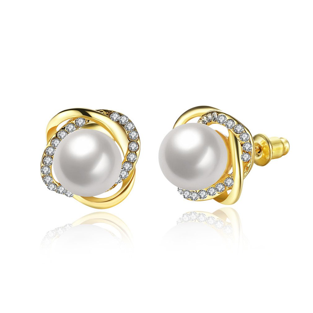 Iumer New Design Rose Pearl Earrings Stud Cubic Pearl Stud Earrings For Women Jewelry