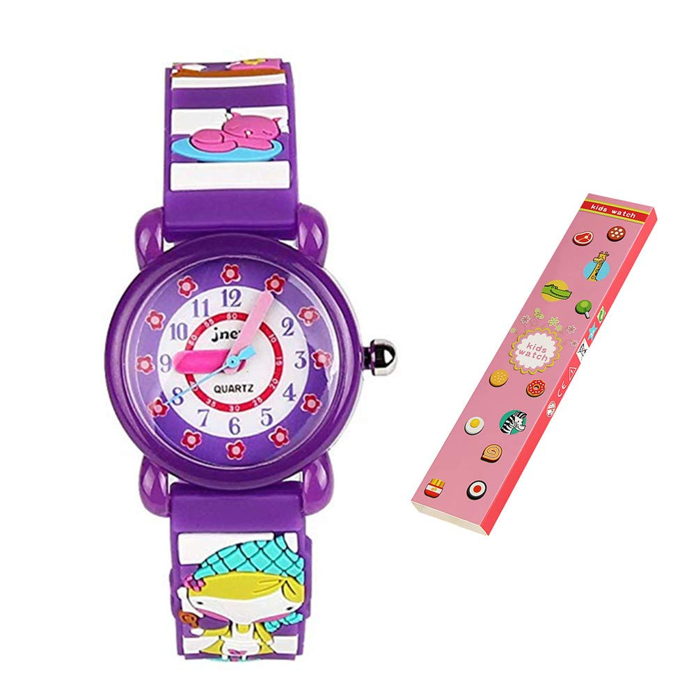 Eleoption Waterproof Kids Watches Children Analog Quartz Wristwatches 3D Cute Cartoon Design Super Soft Silicone Band Shock Resistant Boys Girls as Time Teacher (C-Cute Girl)