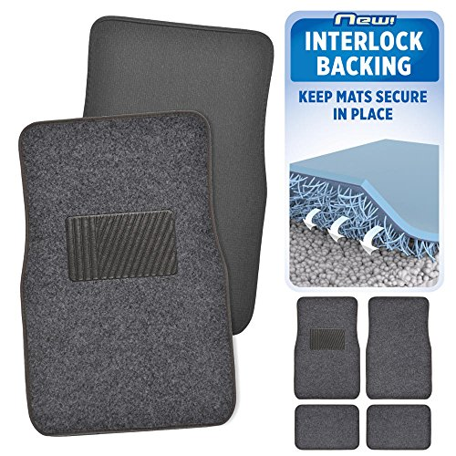 BDK INTERLOCK Car Floor Mats - Secure No-Slip Technology for Automotive Interiors - 4pc Inter-Locking Carpet (Dark Gray)