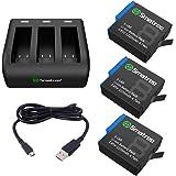 Smatree Uppladdningsbart batteri med 3-kanalladdare kompatibel med GoPro Hero 8/7/6/5 svart