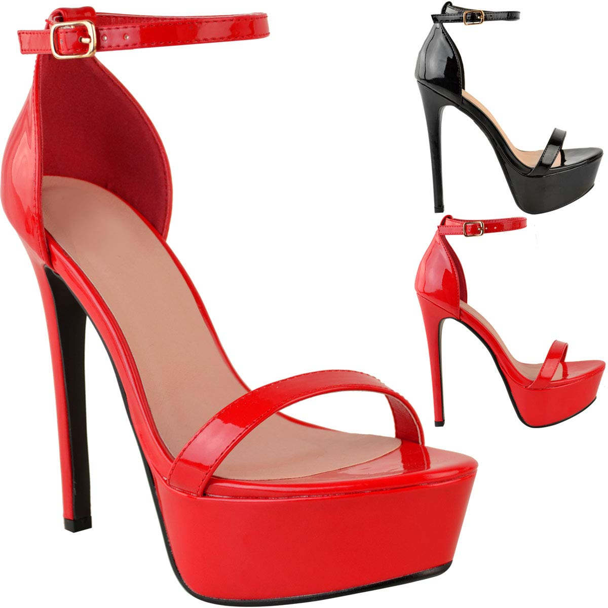 Red tswsq Womens Ladies Platform High Heel Stiletto Sandals Sexy Party Prom shoes New Size